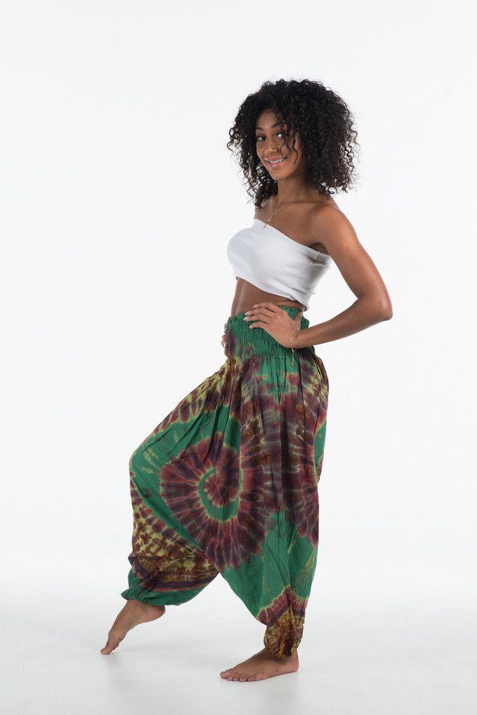 Tie Dye Thai Harem Pants Jumpsuit Women Sea Green Swirl