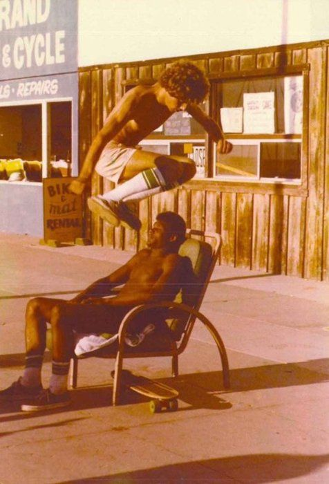 Skateboard tricks in the '70s. Jumping over a sleeping guy on a bench, this is a trick you don't want to mess up. Dude might be a little pissed you used your vans as an alarm clock.