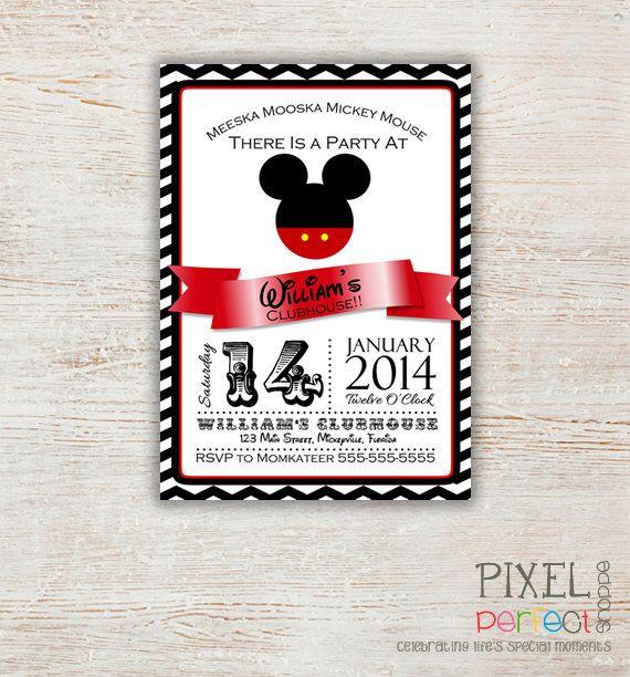 ANY AGE Mickey Mouse Birthday Invitation, Clubhouse Mickey, Birthday Invitation, Printable Mickey Mouse Invitation, Mickey Mouse Chevron by PixelPerfectShoppe on Etsy https://www.etsy.com/listing/197764959/any-age-mickey-mouse-birthday-invitation