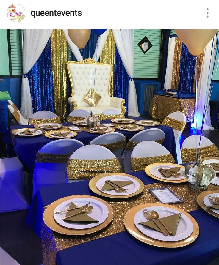 Baby Blue Bathroom Set: Royal Prince Babyshower Table Decor.