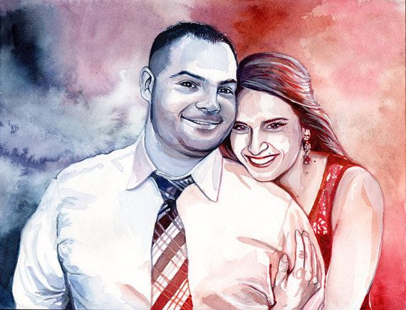 1st WEDDING ANNIVERSARY custom PORTRAIT  Watercolor by SesCaniques