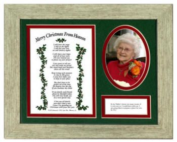 This memorial keepsake plaque is a meaningful and beautiful bereavement gift that will be treasured by the recipient for many years. The plaque has a place for a loved one's photo and contains a card printed with the complete John Wm. Mooney Jr.'s poem, 'Merry Christmas from Heaven'. The mat is also cutout and printed with the Bible verse: 'In my Father's house are many rooms; if it were not so, I would have told you. I am going there to prepare a place for you. Jn 14:2. $24Sadness Poems, Bereavement Poems, Merry Christmas, Heavens Frames