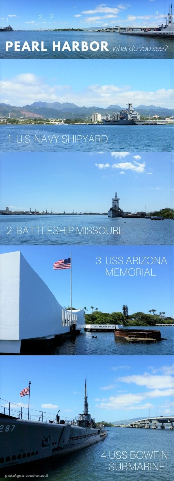 Pearl Harbor pictures: USS Arizona Memorial, Battleship Missouri, US Navy Shipyard, USS Bowfin Submarine. The Pearl Harbor memorial in Hawaii is a top travel bucket list of things to do on Oahu. Better understand facts of what propelled the US into World War II. As a national monument, it's a sort of national park in Hawaii! For culture and history activities near Honolulu, make a remembrance of the Pearl Harbor attack at this beautiful outdoor museum a part of your Hawaii vacation.