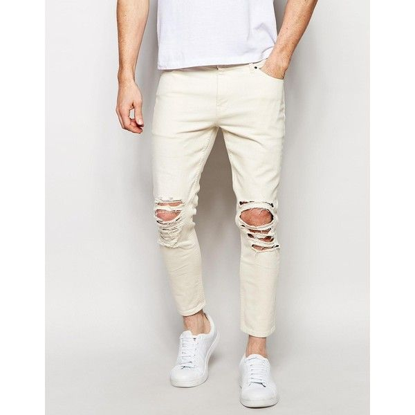 ASOS Skinny Jeans In Cropped Length With Extreme Rips (1,590 DOP) ❤ liked on - Best 20+ Mens Distressed Skinny Jeans Ideas On Pinterest Mens