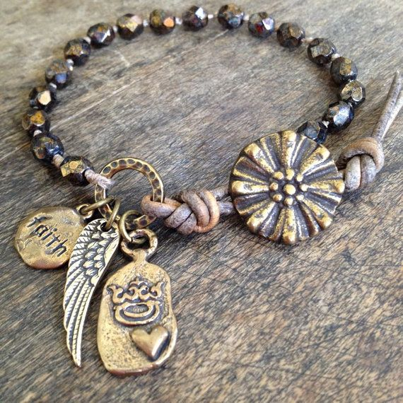 "Wing and a Prayer, ""Faith"" Hand Knotted Wrap Bracelet, Bronze Cross Crown Heart $32.00"
