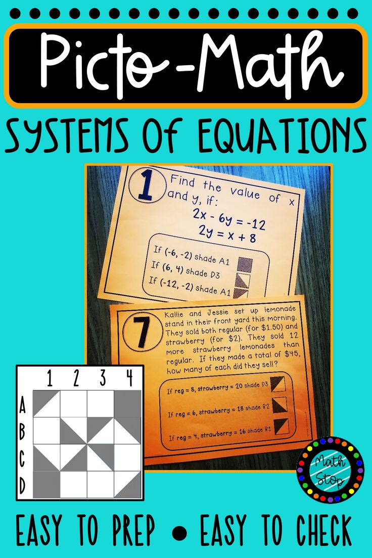 PictoMath Solving Systems of Equations Activity Systems