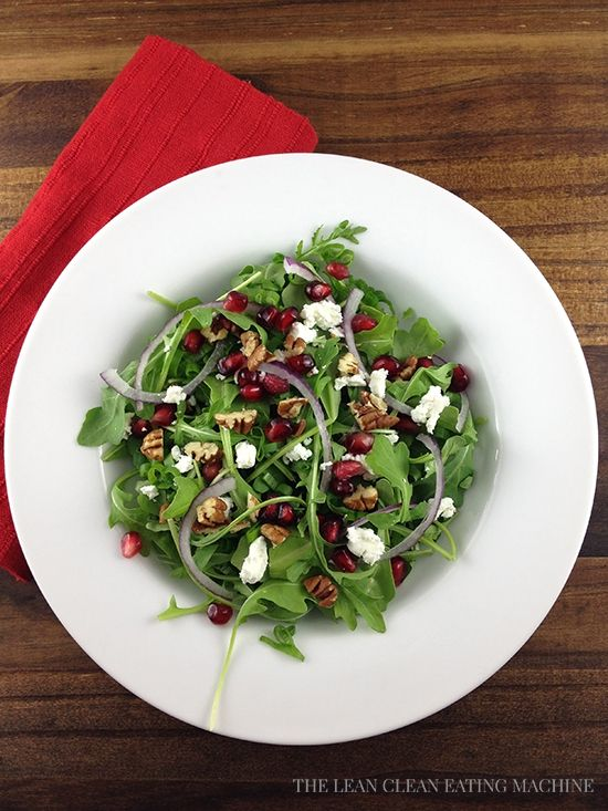 Arugula Pomegranate Goat Cheese Salad with Toasted Pecans and Pomegra ...