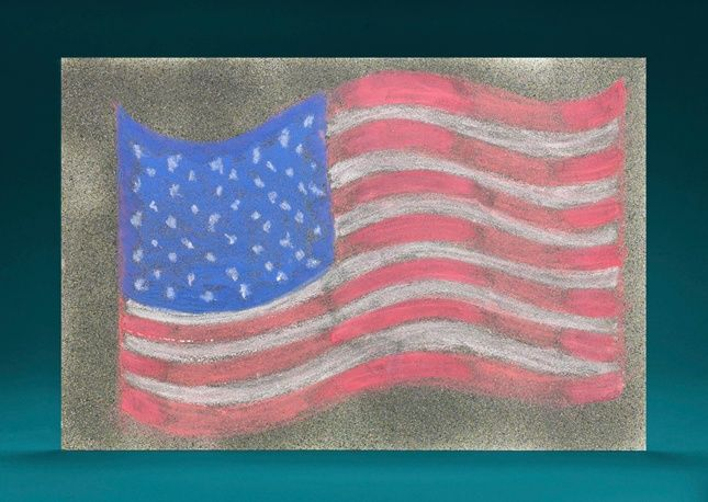 Draw a bigger than life flag on a safe sidewalk for the Fourth of July!