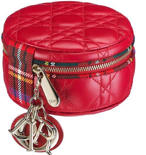 Dior Red Lady Dior Tartan Round Zipped Pouch Bag