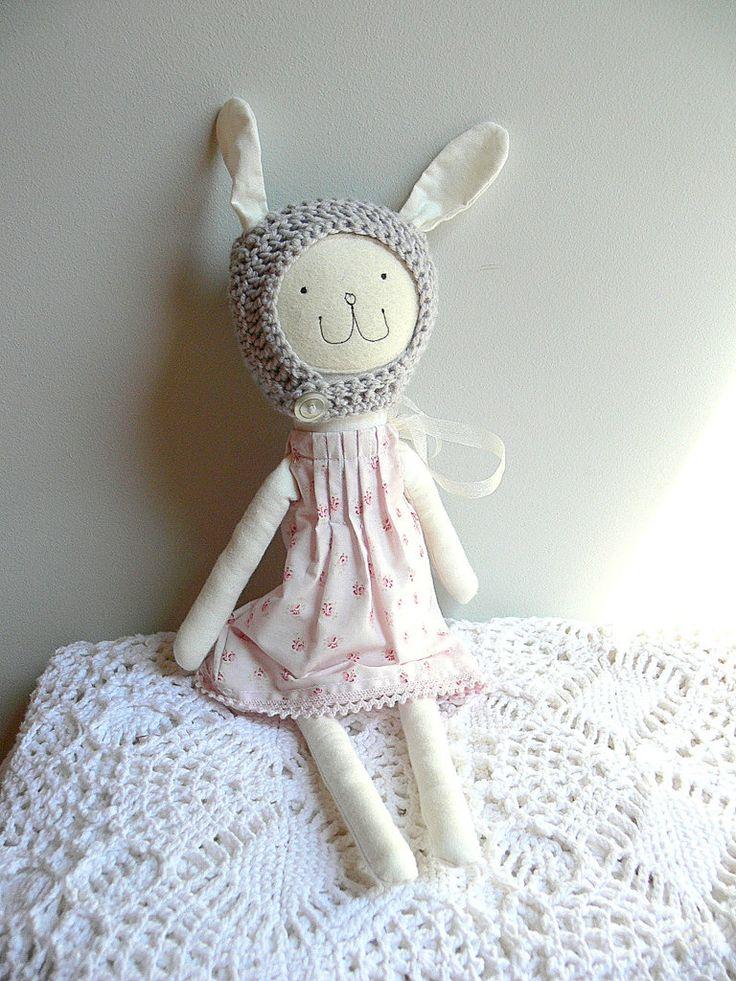 Bunny Doll, Rag Doll, Dress up Doll, Nonsynthetic toy,  THELMA by MiniwerkaToys on Etsy