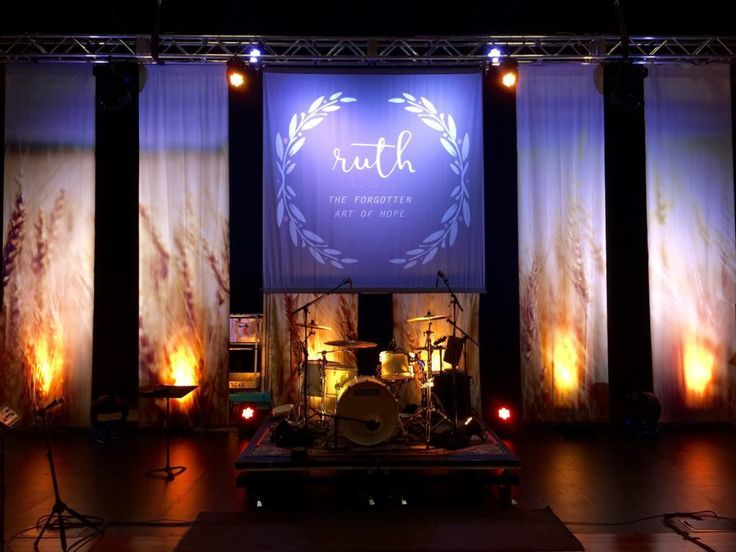 use of textiles and uplights. Image result for small church platform design