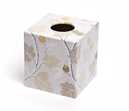 Silver Acorn Tissue Box from Crackpots Tissue boxes and Bins - lovingly hand decoupaged ♥