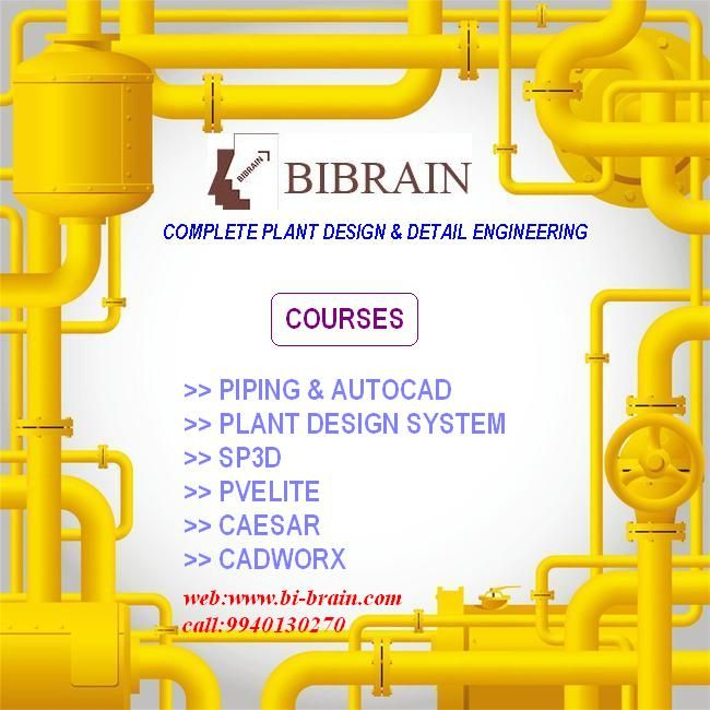 Greetings From Bibrain Bibrain Offers Mechanical Stream Oriented Software Courses The Courses We Offer Are 2d Sotwares Autocad Piping Piping Design Autocad Design System