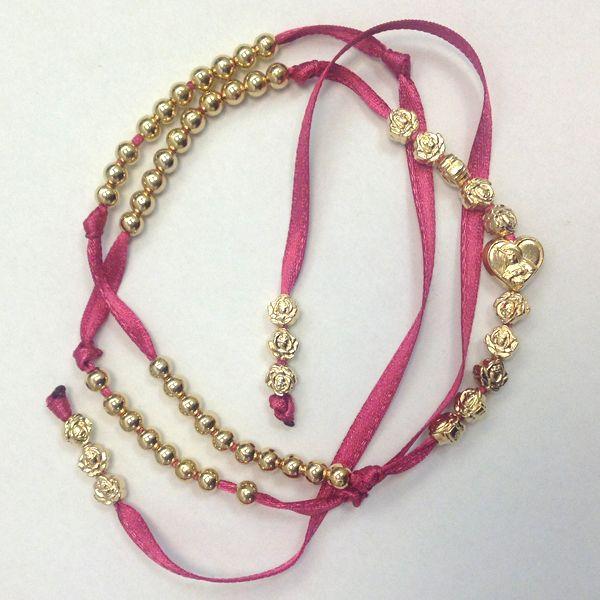 #Bracciale #rosario 5 decine con cuore e rose #prayer