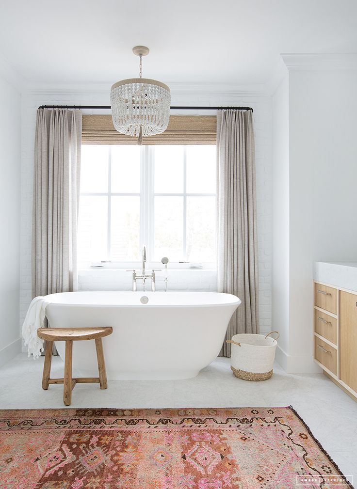 sensational design accent rugs for bathroom. Modern eclectic bathroom design with a mostly neutral palette featuring  deep ceramic bathtub linen curtains wood bead chandelier and an antique rug 105 best Bathroom Ideas images on Pinterest Bathrooms