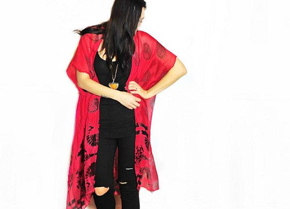 Kimono: Red and Black Light Weight Wrap, Shawl, Bathing Suite and Beach Cover Up(HalinaShearmanDesign)