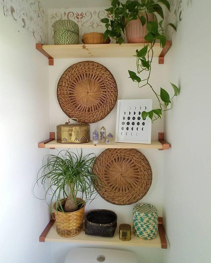 Boho shelves above the toilet #bathroomstorage – s h e l f – #bathroomstorage #B…   – my style