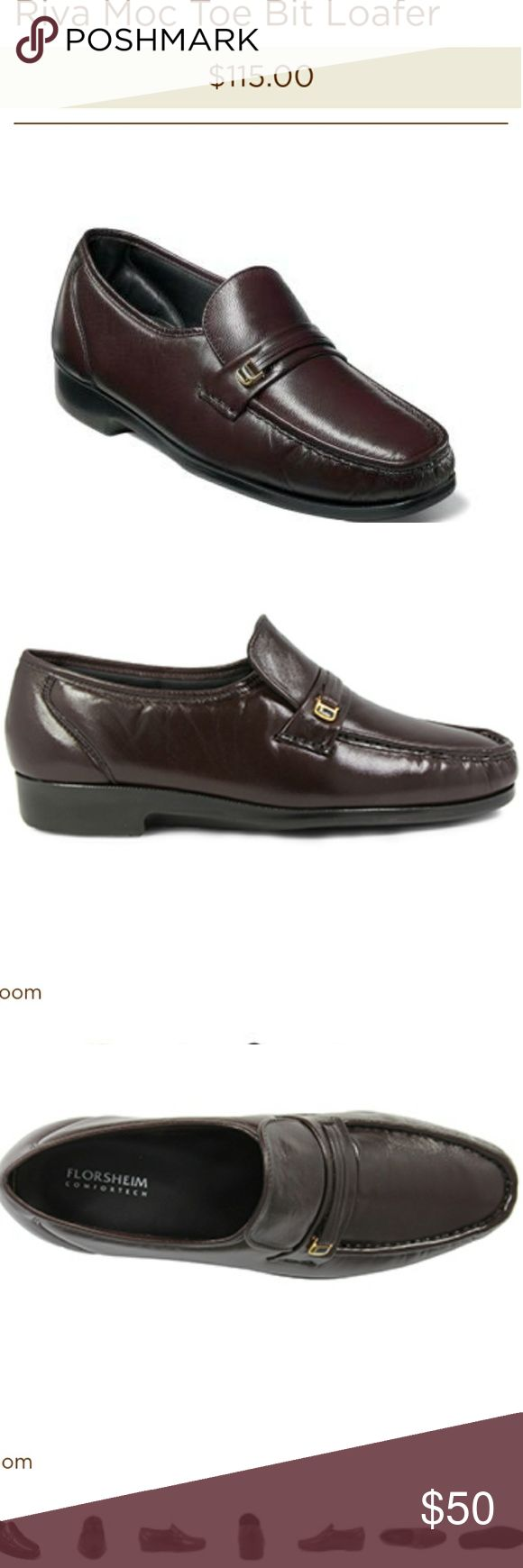 New Florsheim Riva Bit Loafer The Florsheim Riva Bit Loafer is a classic dress shoe that features a hidden gore made with genuine hand sewn construction for a comfortable, easy slip-on fit. Decorative strap & metal goldtone  accent. New - Never wore.  Features: genuine kidskin or nubuck leather uppers in Burgundy. The linings are breathable leather. The insole is a Comfortechnology footbed designed for long-term comfort and wearability.  Brand: Florsheim Size: 8.5 Florsheim Shoes