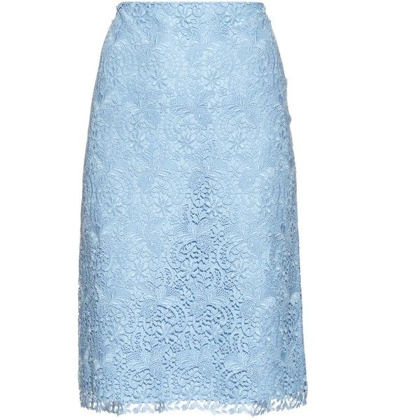 Nina Ricci Macramé-lace pencil skirt ($405) ❤ liked on Polyvore featuring skirts, lace skirts, blue pencil skirt, knee length lace skirt, lace pencil skirt and lacy skirt