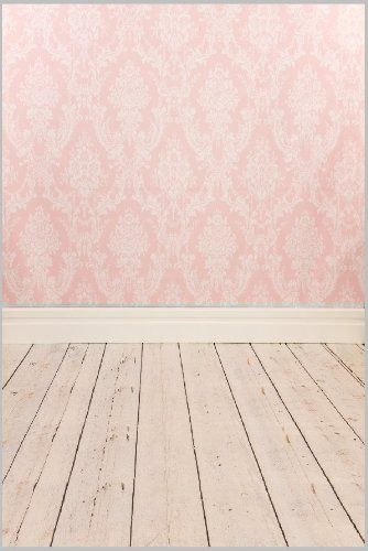 5ft X 7ft Vinyl Photo Backdrop Printed Photography Backgrounds Damask Wallpaper and Wooden Floor Backdrop Xt-2341 35.00
