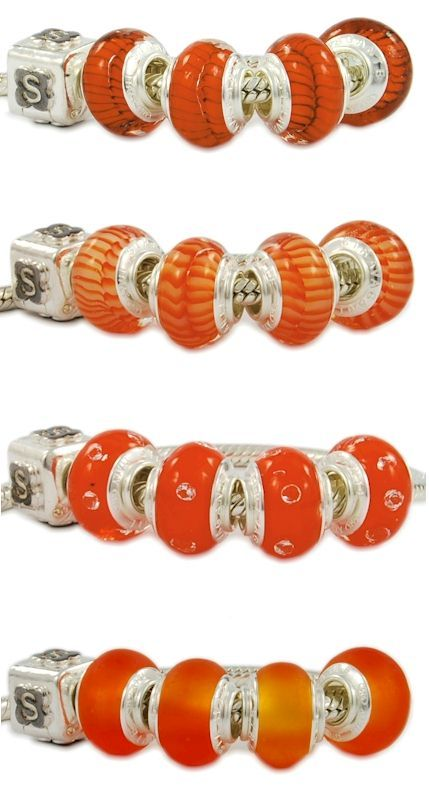 Pretty Pandora style beads with orange tonality. Colorful Murano glass beads hand made in Italy Venice manufactured in the zanfirico technique. Wholesale fashion jewelry, bright, imaginative, customizable, one model with cubic zirconia. Assembled with a single piece of 925 sterling silver core. To better clarify, the glass beads are equipped with a monolithic piece of silver, and not with two cheap eyelets sticked with glue like most Chinese low-quality beads. Venetian glass jewelry.