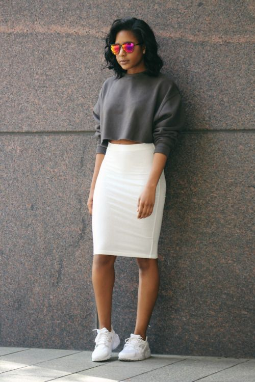 A gray sweatshirt, white pencil skirt, and sneakers.