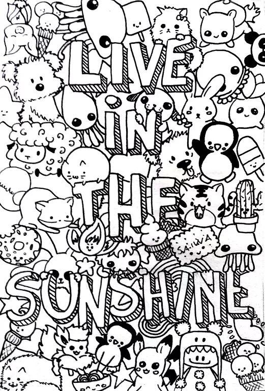 "Foto: my last doodle "" live in the sunshine"" . Awful photo but...nevermind . #art #doodle #chibi #pets #liveinthesunshine"
