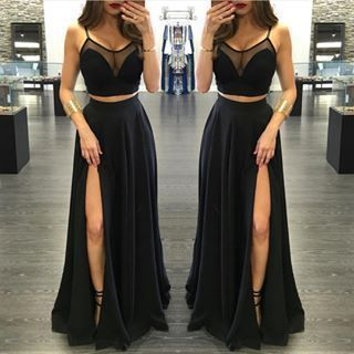 Black Chiffon Prom Dress,Sexy Slit Front Prom Dress,Long Evening Dress,Evening…