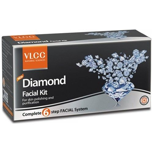 VLCC Diamond Facial Kit  This facial kit for skin polishing and purification comes with a diamond scrub, a diamond detox lotion, a diamond massage gel and a diamond wash-off mask. The natural ingredients in the composition help to provide you with an instant glow. The diamond scrub acts as an exfoliator which removes dead cells and also removes blackheads and whiteheads.