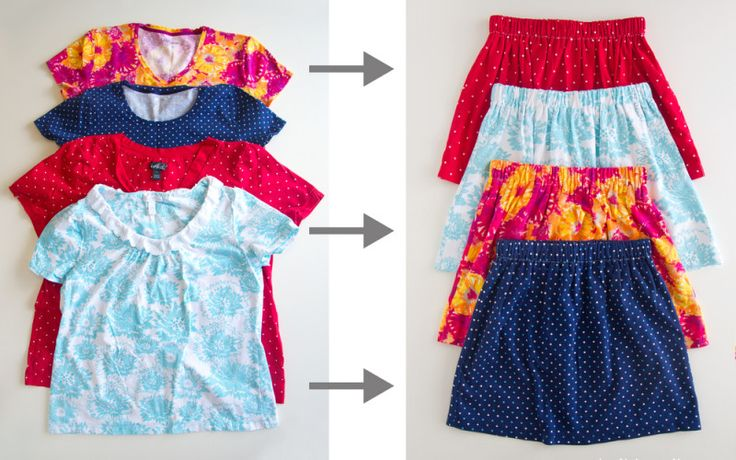 Here's a really cute way to repurpose old t-shirts. Sew up some skirts! BTW, if you like this post, then you'll love this post ...