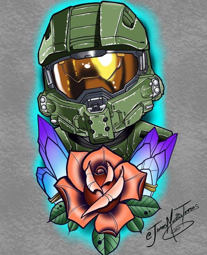 Halo Master Chief Tattoo Halo Drawings Halo Tattoo