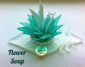 Teal Blossom Soap Thank You Gift - Wedding Guest Favors - Wedding Favors For Guests - Bridesmaid Gifts - Hostess Gifts - Bridal Shower Favor