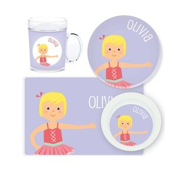 Ballerina Personalised Kids Mealtime Set $32.95 - $39.95 #sweetcreations #baby #toddlers #kids #personalised