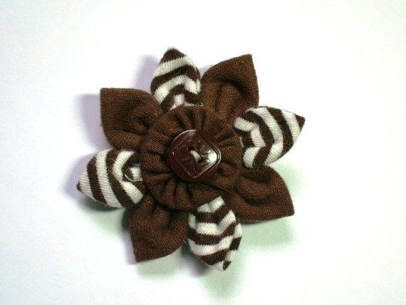 Handmade BROWNIES Flower from Vintage GGC Plain & Striped Brown Brownie Uniform Fabric and Vintage Girl Guide Trefoil Button