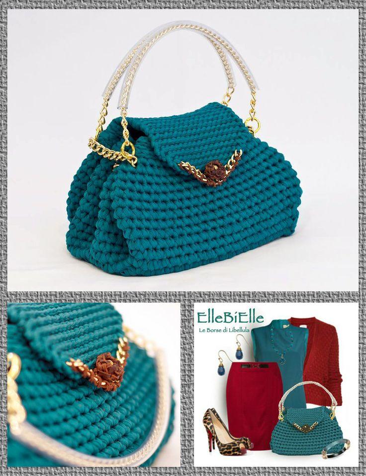 """""""ST.MORITS"""" - crochet bag - ElleBiElle Le Borse di Libellula #tshirtyarn #trapillo #fettuccia"""