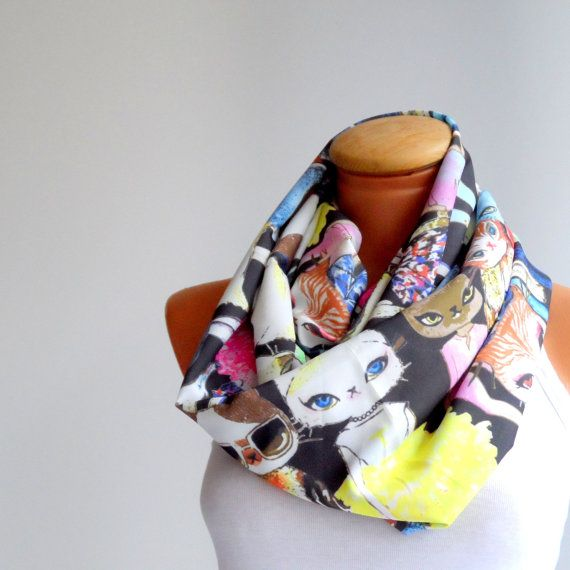 Cat print scarf cat scarf  infinity loop scarfDouble by Ellde