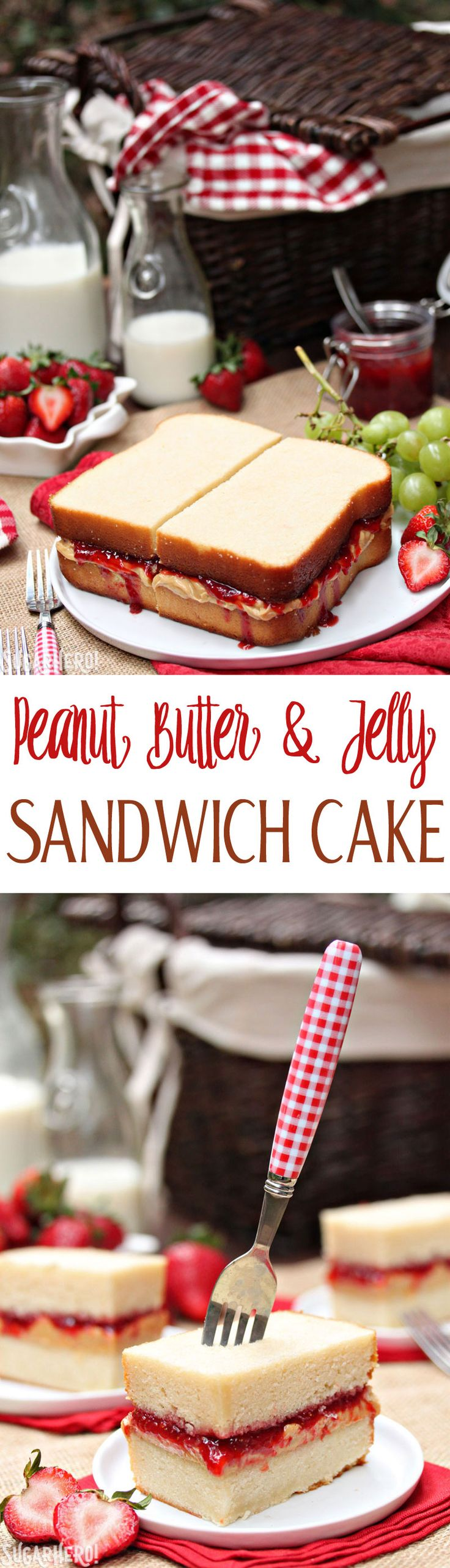 Peanut Butter and Jelly Sandwich Cake - made with pound cake, peanut butter frosting, and homemade jam! | From SugarHero.com