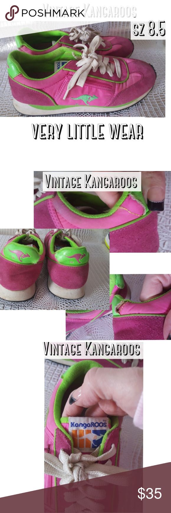 Vintage kangaROOS 80s sneakers pink green runners Vintage kangaROOS 80s sneakers pink green  These are great pair of 1980s sneakers in fluorescent pink and Flourescent Green there is one little spot on the back of each sneaker that is come loose I think from someone taking the sneaker off but does not detract from the use or coolness of these sneakers has a little zipper pocket on the side no other wear or damage Pre owned condition *******All items are in pre owned condition, Nothing…