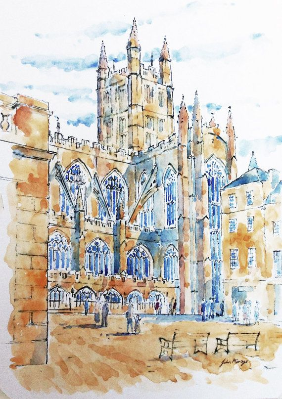 The Abbey Bath print from an original watercolour by John