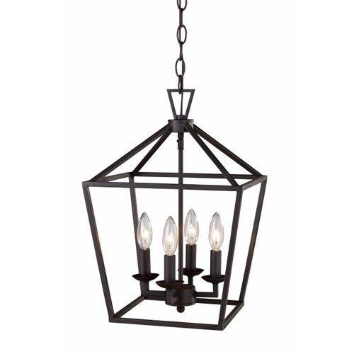 Rubbed Oil Bronze 13 Inch Four Light Pendant Trans Globe Lighting Lantern Pendant Lighting