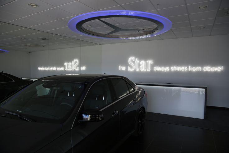 #lighting #design #mercedes #lamp  Merdeces lighting by Emandes http://emandes.com/  Salon Mercedes-Benz Duda-Cars Architecture - Pracownia Projektowa Mariusz Wrzeszcz; Interior Design - Anna Brodziak ww.annabrodziak.com; Neon - Piotr Heinze