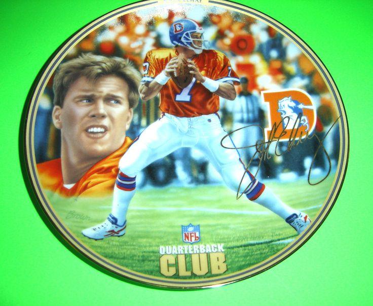 DENVER BRONCOS JOHN ELWAY NFL QUARTERBACK CLUB BRADFORD EXCHANGE FOOTBALL PLATE