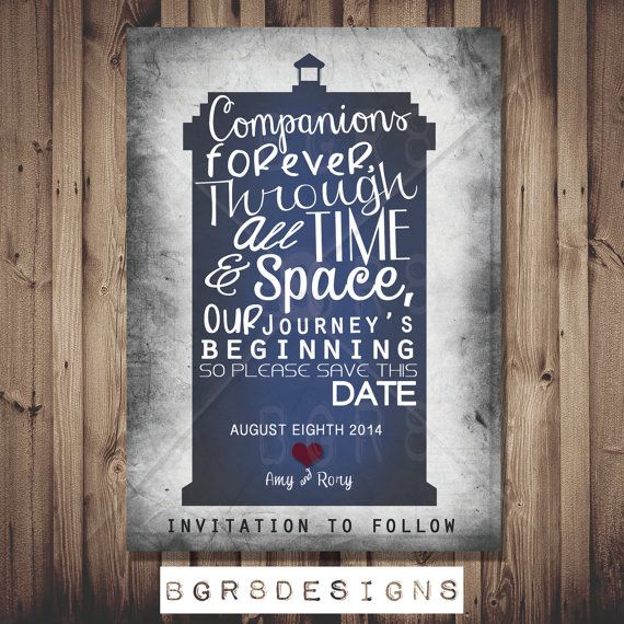 Doctor Who TARDIS Save The Date PRINTABLE DIY by Bgr8Designs, $13.00