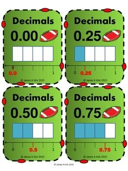 Decimals Card (Doubles) Now in AFL / Aussie Rules Football Style;   Decimal Cards (Doubles) (Now in AFL Aussie Rules Football Styles)  31 Decimal Flash Cards    - 1 decimal and image per card    - Some with additional number lines or fractions to compare too   - 4 per A4 sheet    - Suitable to print and laminate in color     (We also have other versions to download)   Designed specifically for level 3 - 5 learners and anyone wishing to revise or learn to compare decimals or fractions.