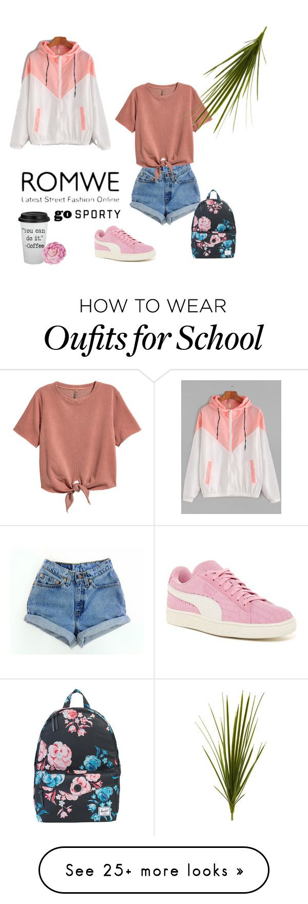 """"" by jeanne-creative on Polyvore featuring Levi's, H&M, Puma, Herschel Supply Co., Nearly Natural and Ballard Designs"