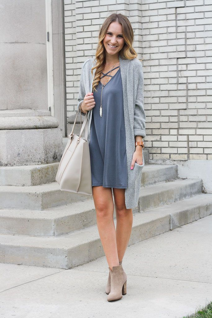Cross Front Dress  // Cardigan  // Tote Bag  // Suede Booties  // 3 Disc Necklace  // Feather Necklace // 'Weekender Fairfield' Watch c/o...