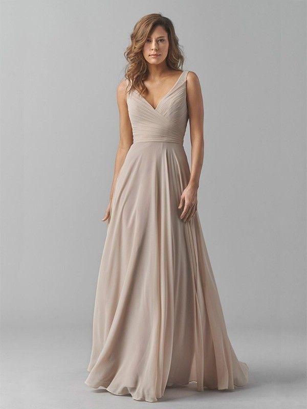 A-Line/Princess V-neck Floor-Length Pleats Chiffon Bridesmaid Dresses