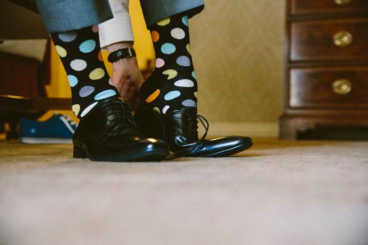 Polka dot socks for the groom. Image: Cavanagh Photography http://cavanaghphotography.com.au