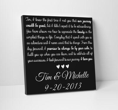 Wedding Vows on Canvas - Order from The Standard Canvas on Etsy