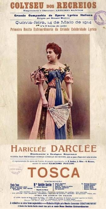 Hariclea Darclée in the title role of the opera, La Tosca (1914). This actress had played the title role in La Tosca's world premiere in Rome on 14 Jan 1900.